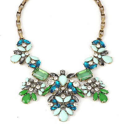 Recycled Green Gemstone Decorated Metal Chain Alloy Bib Necklaces