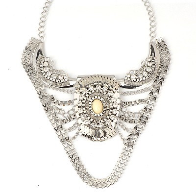Petite Silver Color Vintage Ox Horn Shape Pendant Alloy Bib Necklaces