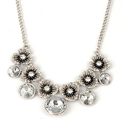Attractive Silver Color Vintage Flower And Gemstone Pendant Alloy Bib Necklaces