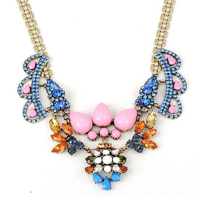 Turquoise Pink Crown Shape Gemstone Decorated Alloy Bib Necklaces