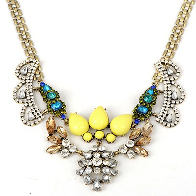 Aamazing Yellow Crown Shape Gemstone Decorated Alloy Bib Necklaces