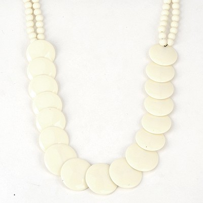 Arrowhead Beige Round Gemstones Decorated Acrylic Beaded Necklaces