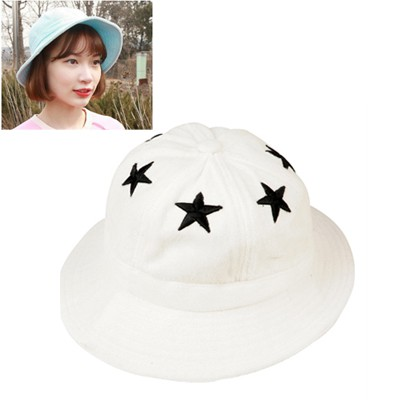 Stylish White Five-Pointed Star Decorated Cloth Material Sun Hats