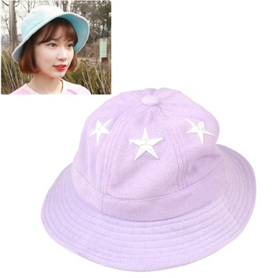 Costume Light Purple Five-Pointed Star Decorated Cloth Material Sun Hats