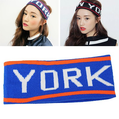Deathly Navy Blue Letter NEW YORK Elastic Design Knitting Wool Hair band hair hoop