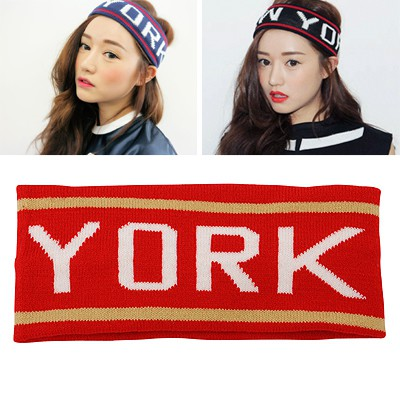 Personal Red Letter NEW YORK Elastic Design Knitting Wool Hair band hair hoop