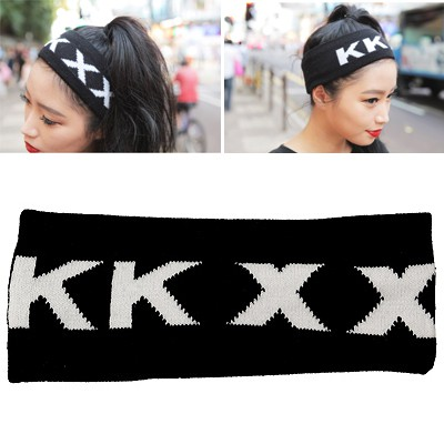 Kennedy Black Letter KKXX Elastic Design Knitting Wool Hair band hair hoop