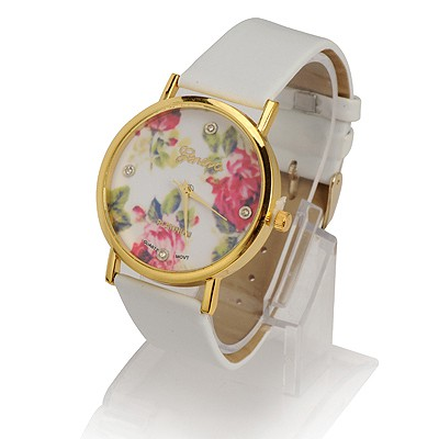 Nice White Rose Pattern Round Shape Design Alloy Ladies Watches