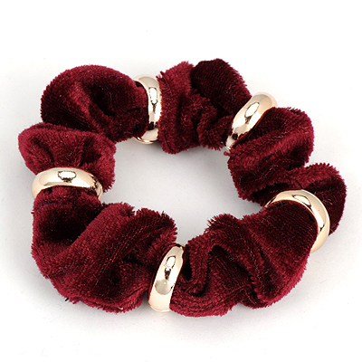 Hemp Claret-Red Five Metal Circle Decorated Alloy Hair band hair hoop