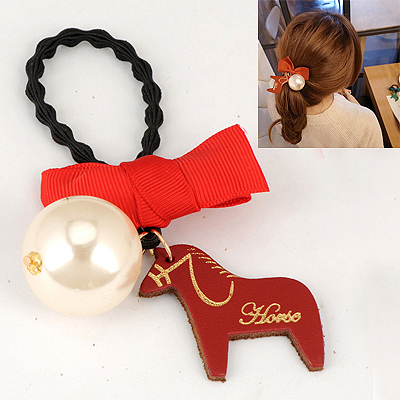 Square Red Cartoon Horse&Pearl Decorated ribbon Hair band hair hoop