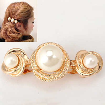 Splendid Gold Color Rotating Cube Pearl Design Alloy Hair clip hair claw