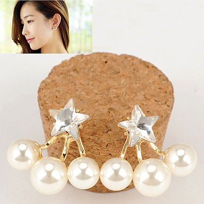 Oversized Gold Color Inlaid Drill Star Decorated Pearl Stud Earrings