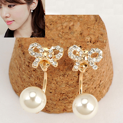 Caterpilla Gold Color Sparkly Diamond Bowknot Decorated Pearl Stud Earrings