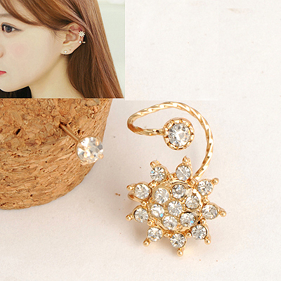 Preppy Gold Color Bright Flower Shape Design Alloy Stud Earrings
