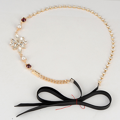 Health Black Chain Inlaid Drill Design Alloy Hair band hair hoop