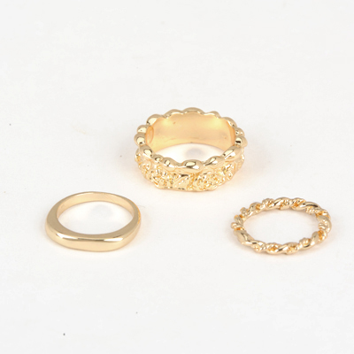 Formal Gold Color Good Quality Rose Pattern Combination 3 Pcs In 1 Alloy Korean Rings