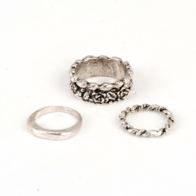 Automatic Silver Color Good Quality Rose Pattern Combination 3 Pcs In 1 Alloy Korean Rings