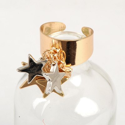 Hardy Gold Color Good Quality Stars Pendant Design Alloy Korean Rings