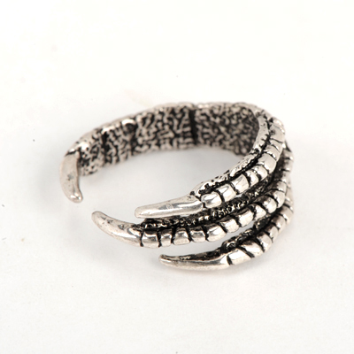 Electronic Antique Silver Good Quality Vintage Eagle Claw Shape Opening Design Alloy Korean Rings