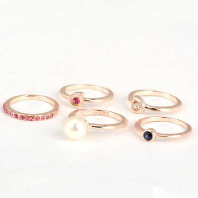 Scrabble Gold Color Good Quality Inlaid Drill Pearl Combination 5 Pcs In 1 Alloy Korean Rings