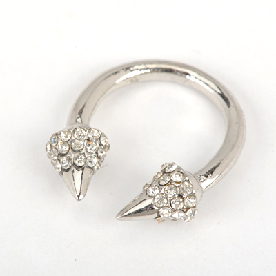 Corduroy Silver Color Good Quality Personality Inlaid Drill Rivet Opening Design Alloy Korean Rings
