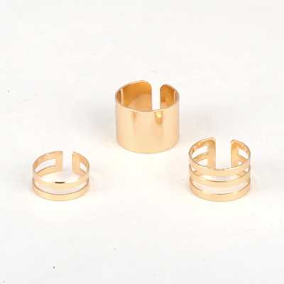 Timeless Gold Color Good Quality Metal Combination 3 Pcs In 1 Alloy Korean Rings