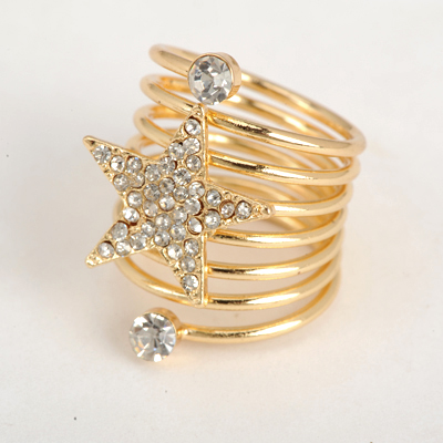 Awesome Gold Color Good Quality Inlaid Drill Star Decorated Spring Design Alloy Korean Rings