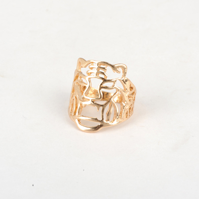 Special Gold Color Good Quality Hollow Out Tiger Head Design Alloy Korean Rings