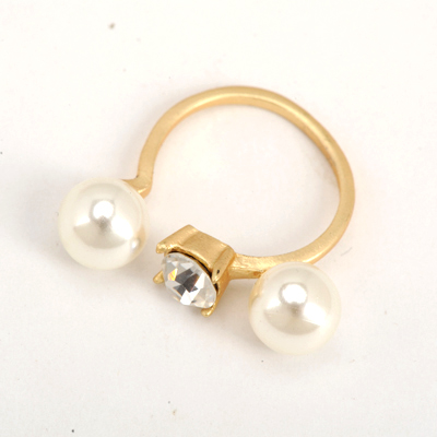 Awesome Gold Color Good Quality Double Pearls Opening Design Alloy Korean Rings