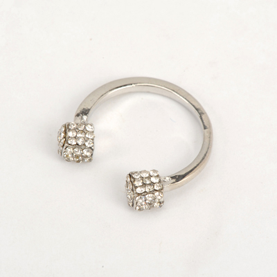 Diabetic Silver Color Good Quality Inlaid Drill Square Metal Opening Design Alloy Korean Rings
