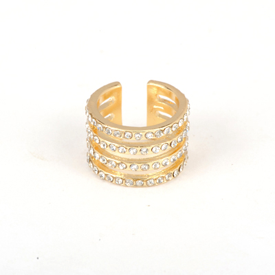 Uniqe Gold Color Good Quality Hollow Out Four Rows Inlaid Drill Design Alloy Korean Rings