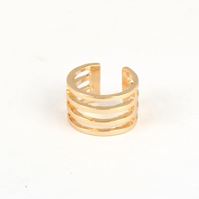 Hardy Gold Color Good Quality Hollow Out Four Rows Simple Design Alloy Korean Rings
