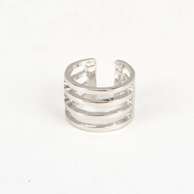 Chic Silver Color Good Quality Hollow Out Four Rows Simple Design Alloy Korean Rings