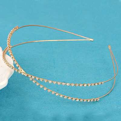 Graduation gold color Inlaid Drill Decorated Two Layer Cross Design Alloy Hair band hair hoop