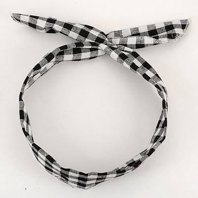 Ladies Black Plaid Pattern Lovely Rabbit Ear Cloth Hair band hair hoop