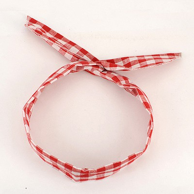 Homecoming Red Plaid Pattern Lovely Rabbit Ear Cloth Hair band hair hoop