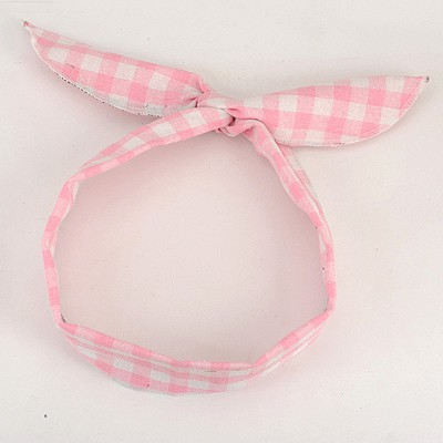 Customized Pink Plaid Pattern Lovely Rabbit Ear Cloth Hair band hair hoop