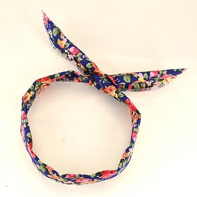 Stretch Blue Floral Pattern Lovely Rabbit Ear Cloth Hair band hair hoop