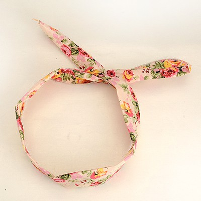 Softshell Pink Floral Pattern Lovely Rabbit Ear Cloth Hair band hair hoop
