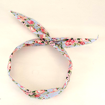 Bridal Light Blue Floral Pattern Lovely Rabbit Ear Cloth Hair band hair hoop