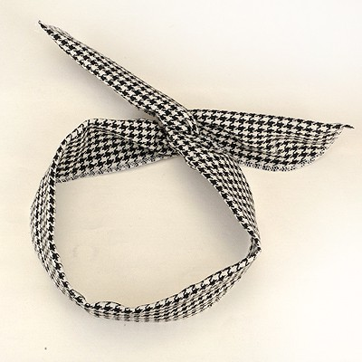 Fitness Black Small Plaid  Lovely Rabbit Ear Cloth Hair band hair hoop