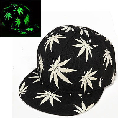 Elegant Black luminous Maple Leaf Pattern Flat Brim Design Canvas Baseball Caps