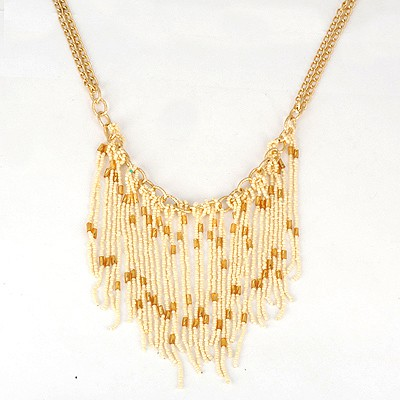 Cool Beige Bohemia Style Beads Tassel Pendant Alloy Bib Necklaces