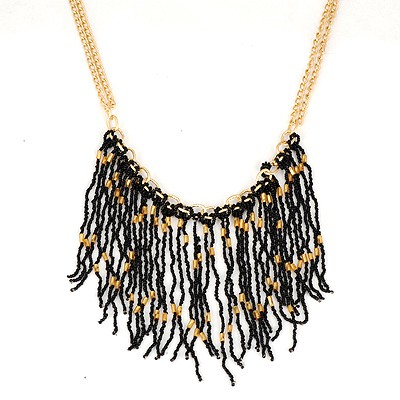 Corporate Black Bohemia Style Beads Tassel Pendant Alloy Chains