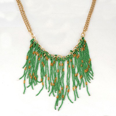 Monarchy Green Bohemia Style Beads Tassel Pendant Alloy Bib Necklaces