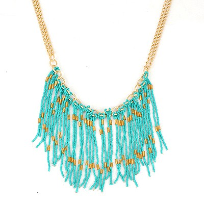 Butterfly Blue Bohemia Style Beads Tassel Pendant Alloy Bib Necklaces