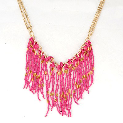 University Plum Red Bohemia Style Beads Tassel Pendant