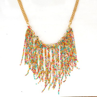Wide Multicolor Bohemia Style Beads Tassel Pendant Alloy Bib Necklaces