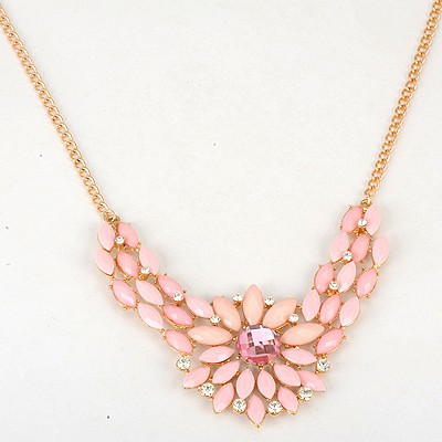 Madewell Pink Inlaid Drill Sunflower V Shape Pendant Alloy Bib Necklaces