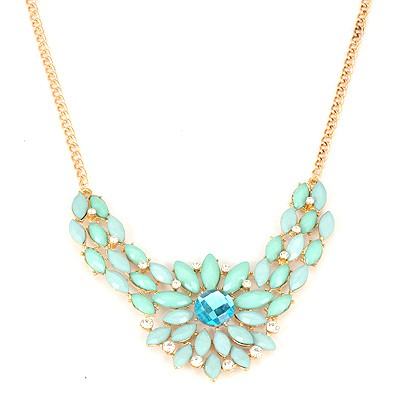 China Light Blue Inlaid Drill Sunflower V Shape Pendant Alloy Bib Necklaces